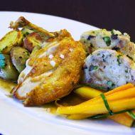 Kukuřičné kuře pečené s jarní nádivkou recept