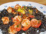 Sépiové linguine s krevetami recept