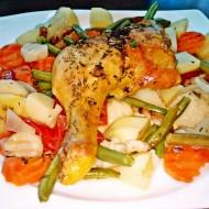 Pečená kuřecí stehna na víně a jarní zelenině recept
