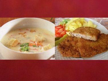 Oběd 68  Česneková polévka a Smažený králík