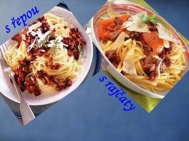 Špagety s rajčaty a řepou