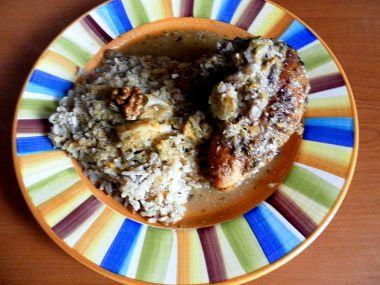 Kuře na pomerančích s ořechy