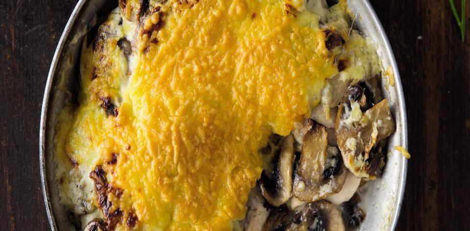 Kuřecí řízky zapečené s houbami