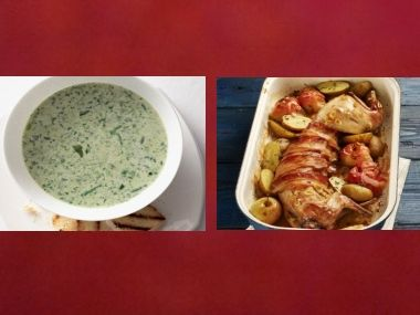 Oběd 94  Zelená polévka a Králík na česneku