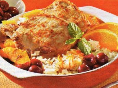 Vepřové kotlety a višňovou rýží