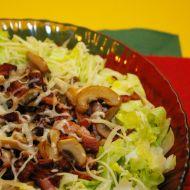 Zelený salát se žampiony a slaninou recept