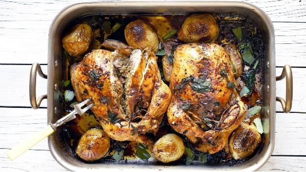 Pečené kuře s mandlovou nádivkou