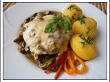 Vepřový plátek s hříbkovou čepicí-dvě jídla z jednoho hrnce recept ...