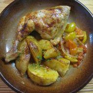 Kuře pečené s brambory a rajčaty recept
