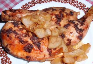 Česnekovo-zázvorové kuře na hruškách  pečené