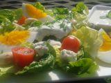 Salát Little Gem (římský) s nivou a vejci. recept