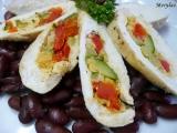 Kuřecí kapsa plněná zeleninou na fazolích recept