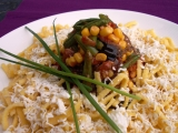 Zeleninový kopeček na vaječných nudlích recept