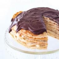 Palačinkový dort s čokoládovou polevou recept