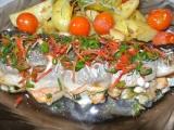 Pikantní losos s nádivkou recept