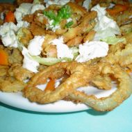 Smažené krevety a cibulové kroužky recept
