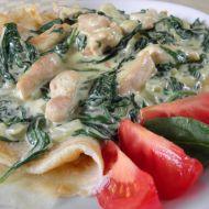 Palačinky se špenátovým krémem a kuřecím masem recept