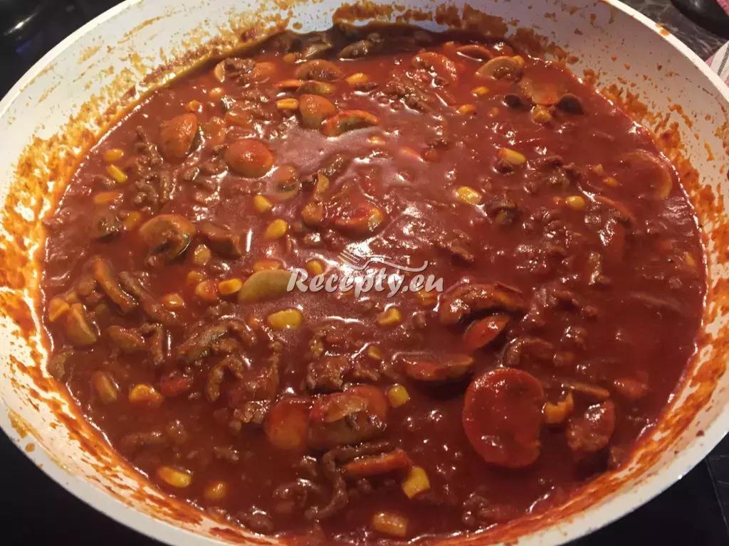 Mexická pálivá směs k těstovinám recept  mleté maso