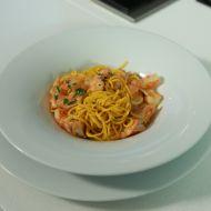 Krevety s česnekem a špagetami recept