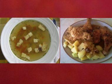 Oběd 16  Polévka se svítkem a kuřecí stehna se zelím