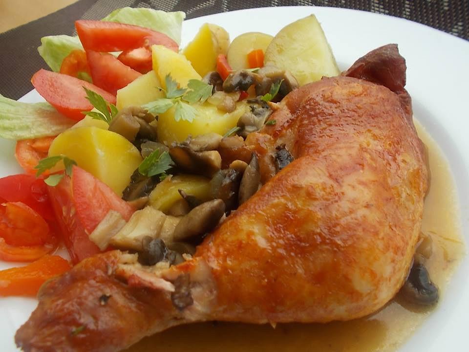Uzená kuřecí stehna na červené cibuli se žampiony recept ...