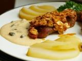 Mandlový krůtí steak, omáčka s kapary, pošírovaná hruška recept ...