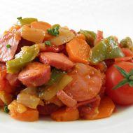 Pikantní párková směs se zeleninou recept