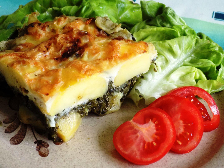 Zapečené brambory se špenátem a sýrem recept