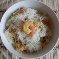Krevety s rýžovými těstovinami recept