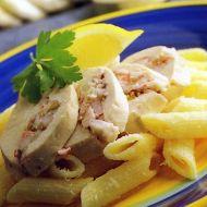 Plněné kuřecí řízky s těstovinami recept