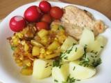 Kuřecí maso s ananasem, hráškem a kukuřicí recept