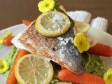 Pražma s citrony a hráškovým pyré recept