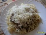 Špagety s kuřecím masem a játry recept