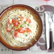 Špagety se slaninou a nivou recept