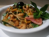 Cukety, krevety, pesto a špagety recept