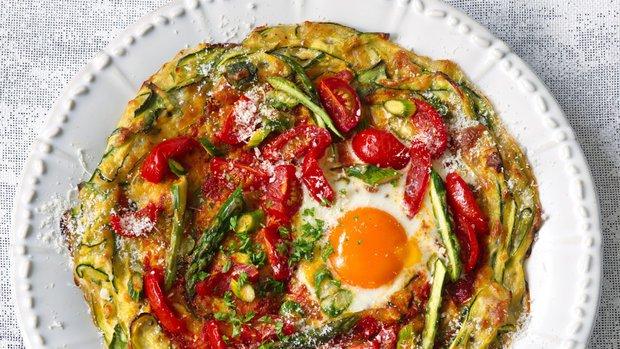 Cuketová pizza s vejcem