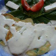 Špenátové lívance se sýrovou omáčkou recept