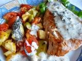 Losos s koprovým přelivem a restovanou zeleninou recept ...