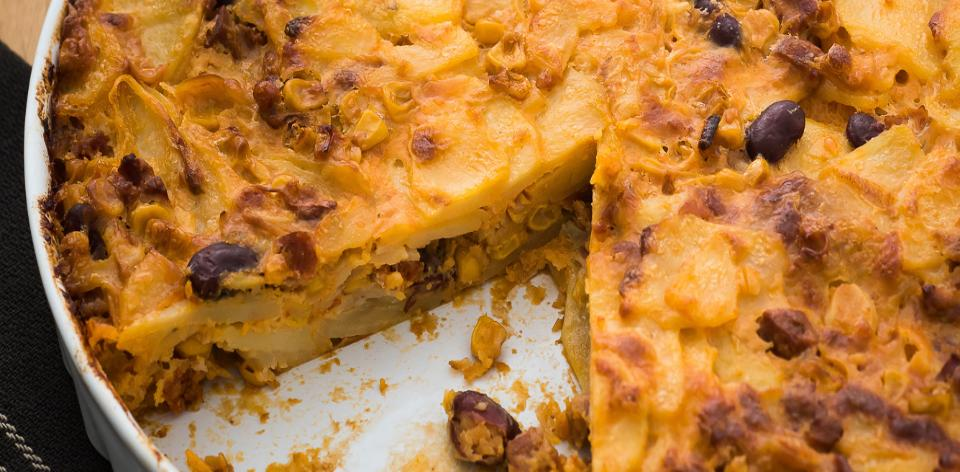 Bramborový koláč s chorizem a sýrem