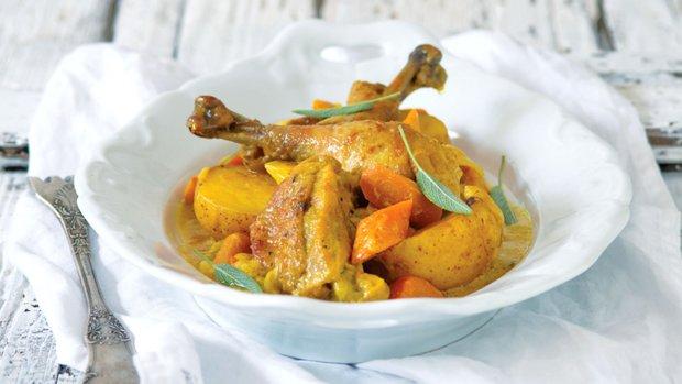 Pečená kuřecí stehna s kurkumou a hořčicí