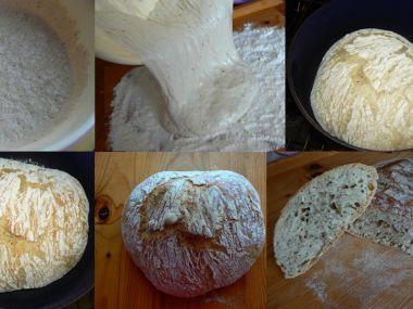 Domácí chléb (kyne přes noc) pečený v litinovém hrnci
