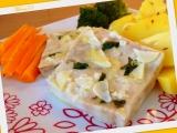 Ryba (filé) s česneko  bazalkovou chutí, zeleninovou přílohou a ...