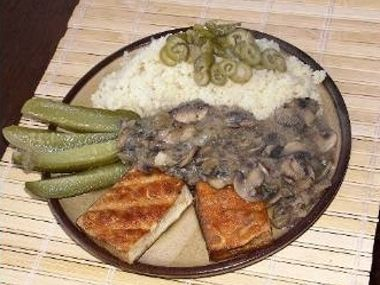 Tofu na žampionech  vegan