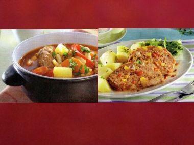 Oběd 98  Gulášovka s paprikami a Barevná sekaná