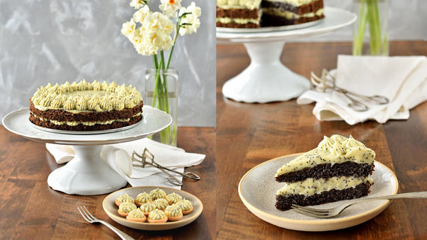 Makový dort se žloutkovým krémem