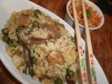 Houbové rizoto s hráškem a tempehem recept