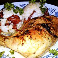 Pečené kuřecí stehno na víně a bylinkách s dušenou rýží s liškami ...