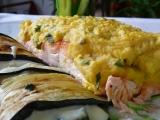 Losos v bylinkové krustě a lilkové lassagne recept