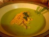 Hráškový krém s kukuřicí a česnekem recept