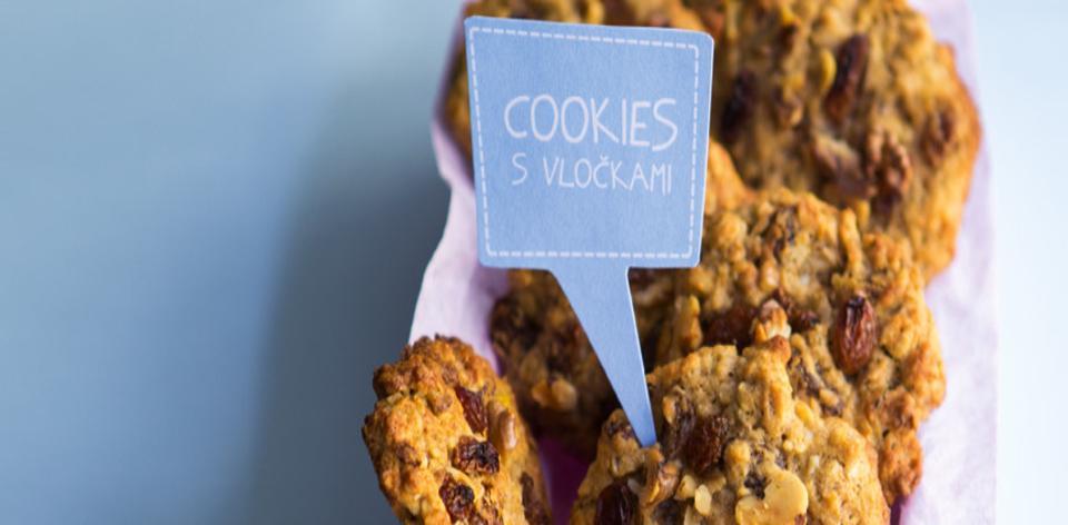 Cookies z celozrnné mouky s vločkami